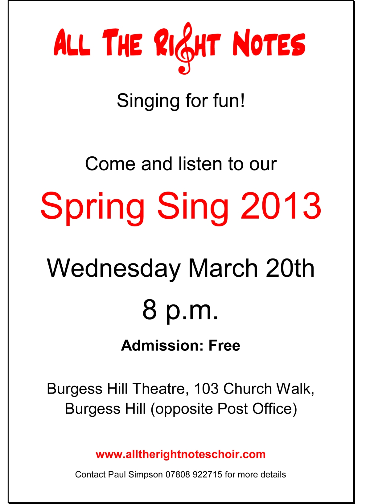 All the Right Notes Spring Sing!